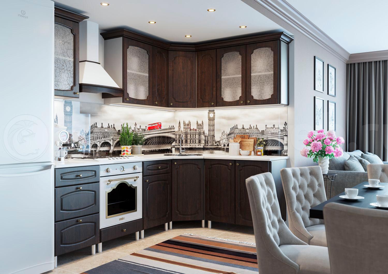 Фото кухни дуб кофейный с темной столешницей
